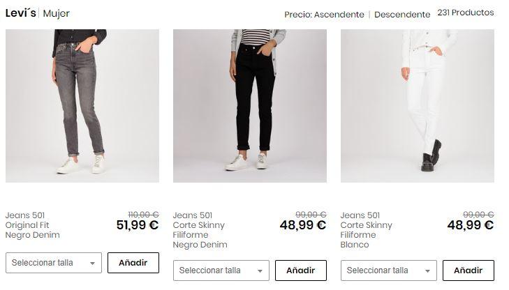 pantalones levis baratos para mujer