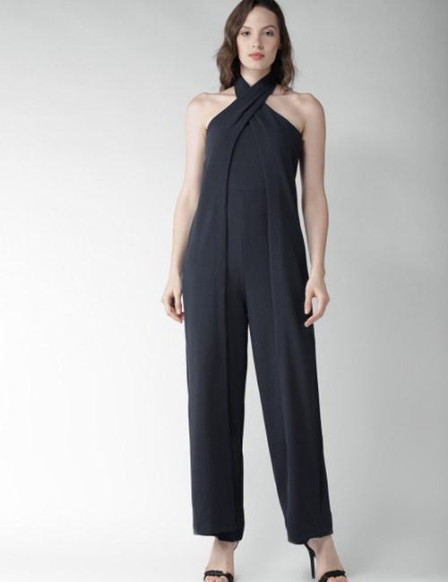 Halter Dress Ideas - Navy Blue Formal Jumpsuit