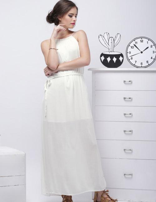 Halter Dress Ideas - Long White Halter Neck Dress