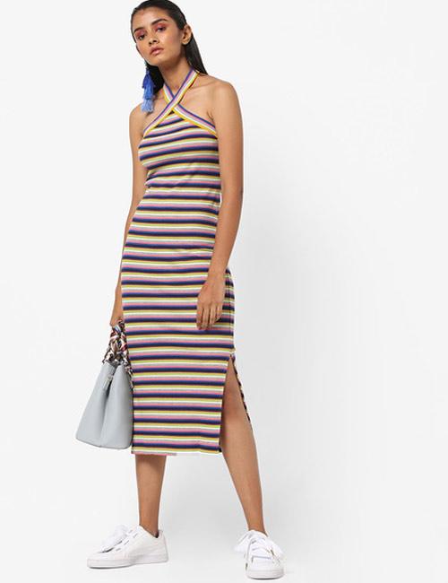 Halter Dress Ideas - Stripe Halter Neck T-Shirt Dress
