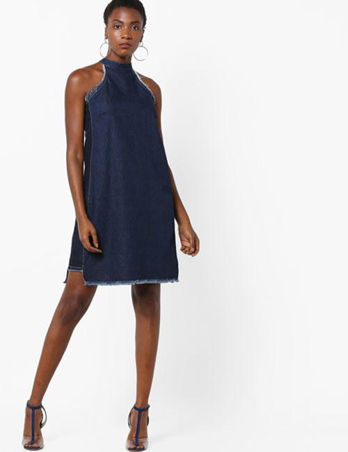 Halter Dress Ideas - Frayed Halter Neck Denim Dress