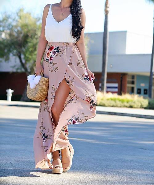 Como llevar una falda máxima - Falda maxi de gasa con rendija central