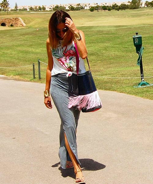 Como llevar una falda máxima - Falda maxi de algodón gris con tapa estampada sin mangas
