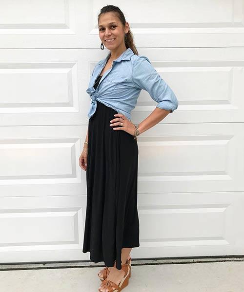 Como llevar una falda larga: la falda larga de Lularoe se transforma en una parte superior de tubo