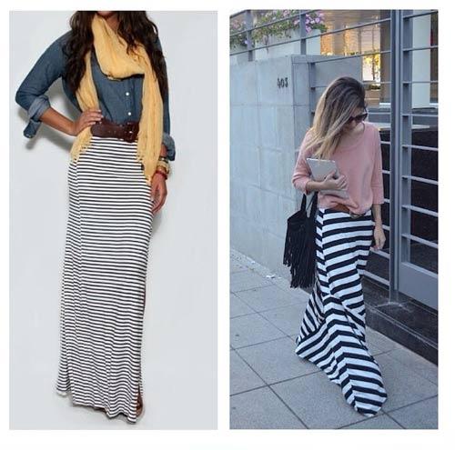 Como llevar una falda máxima - Falda maxi de rayas horizontales negras