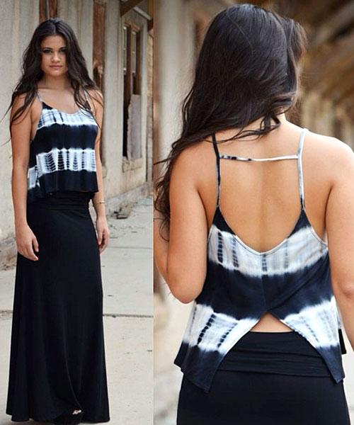 Como llevar una falda máxima: falda maxi de color sólido negro con corbata y tintes
