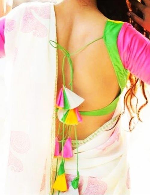 Multicolored Backless BLOUSE - Blusa sin respaldo