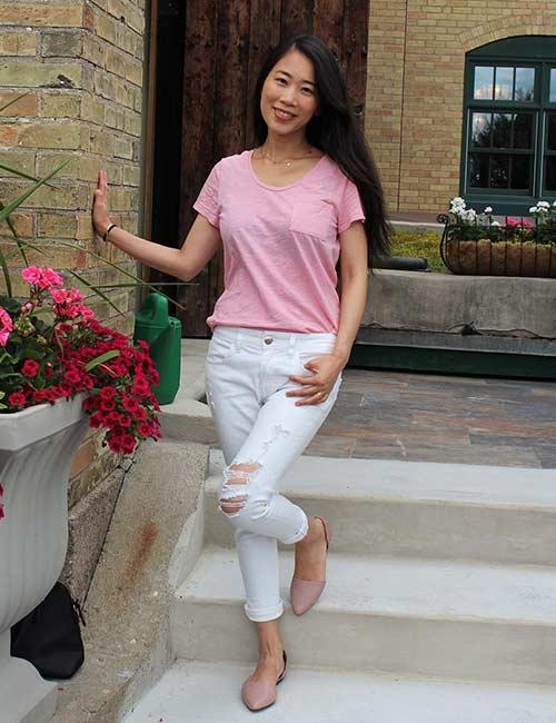 11. Marque con tonos rosa